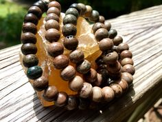 8mm Round Bone Beads, Handcrafted Earthy Beige Brown with Green Tones Color…