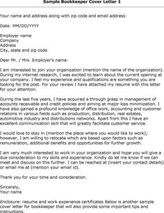 cover letter for bookkeeper sample httpwwwresumecareerinfo - Sample Cover Letter For A Resume