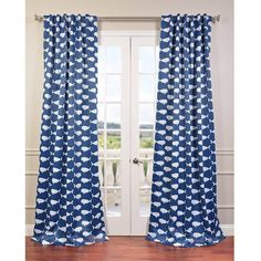 EFF Migaloo Back Tab/ Rod Pocket Blackout Curtain Panel ($56) ❤ liked on Polyvore featuring home, home decor, window treatments, curtains, blue, blue window panels, window screens, blackout curtain panels, blackout curtains and blue curtain panels