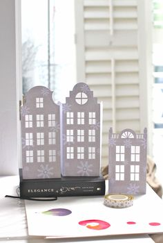 """DIY Dutch house luminaries - instructions here. (Templates in their own folder, within """"craft patterns"""" folder)"""