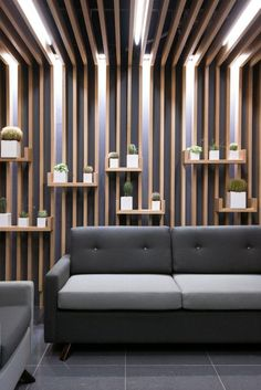 Embracing Wood: Smart Acoustics and Cozy Aesthetics Shape Office in Poznan Regent Insurance Flagship Office – Waiting Area Wall Office Interior Design, Interior Walls, Office Interiors, Office Ceiling Design, Office Designs, Cafe Design, House Design, Design Commercial, Plafond Design