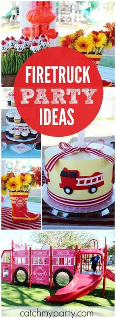 How cool is this boy birthday party held at a firetruck park! See more party ideas at Catchmyparty.com!