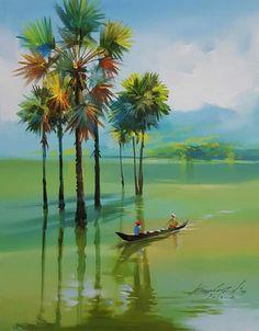 Watercolor Scenery, Watercolor Landscape Paintings, Landscape Art, Watercolor Paintings, Watercolour, Scenery Paintings, Indian Art Paintings, Nature Paintings, Poster Color Painting