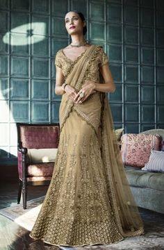 Beige Color Netted Heavy Work Lehenga Choli Online ,Veeshack.com   Fashion for the World - 1