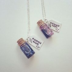 Mermaid tears vial and tag necklace geekery