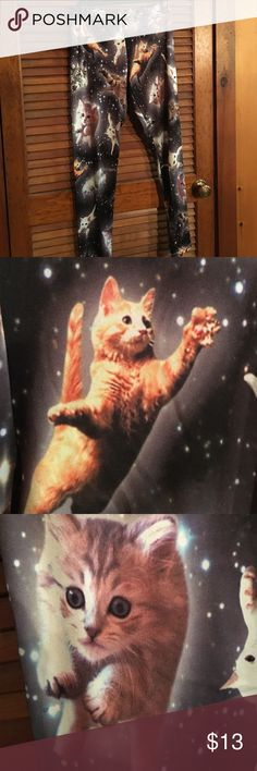 SPACE CAT Super adorable and stretchy space cat leggings Pants Leggings