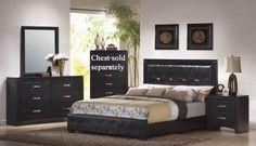Amazon.com: 4pc King Size Bedroom Set in Black Finish: Furniture & Decor - via http://bit.ly/epinner