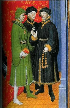 Men wearing houppelandes in a Burgundian Book of Hours: Burgundy. Medieval Jewelry, Medieval Clothing, Historical Clothing, Medieval Costume, Medieval Dress, Medieval Life, Medieval Art, 15th Century Clothing, Mens Garb