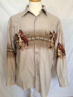 Wrangler Western Cowboy Sz XL Mens Shirt Horses Fighting Long Sleeves  | eBay