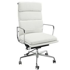 Eames Softpad Executive Chair Style Office Reproduction High Back White High Back Office Chair, High Back Chairs, White Leather Office Chair, Home Office, Office Decor, Office Spaces, Office Ideas, Work Spaces, Cheap Chairs
