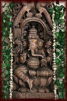 Ganesha carved in wood