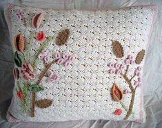 Image detail for -Crochet Art Nouveau Pillow by ~meekssandygirl on deviantART Crochet Pillow, Crochet Art, Love Crochet, Irish Crochet, Crochet Crafts, Yarn Crafts, Crochet Flowers, Crochet Projects, Rugs