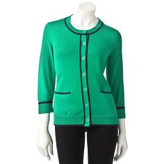Croft and Barrow Tipped Cardigan - Green w/Navy Trim - Kohl's - Original Price 40 Dollars - Clearance Price 12.60