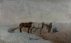 """URGELL CARRERAS, Ricardo (Barcelona, 1874 – 1924). """"Descanso en la recogida de la sal"""".ara hacer un zoom"""
