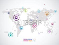 世界地図上の人々 の社会的ネットワークのアイコンのフラット デザインのコンセプト photo Infographic, Internet, Design, Infographics, Visual Schedules