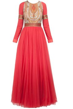 Deep coral to red ombre anarkali kurta set available only at Pernia's Pop-Up Shop.