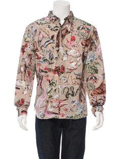 Valentino Printed Button-Up Shirt / snake