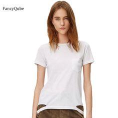 Item Type: TopsTops Type: TeesGender: WomenStyle: FashionPattern Type: SolidCollar: O-NeckSleeve Length(cm): ShortBrand Name: FancyQubeMaterial: Spandex,Polyest
