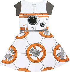 Star Wars I am BB-8 Juniors Cap Sleeved Skater Dress (Sma…