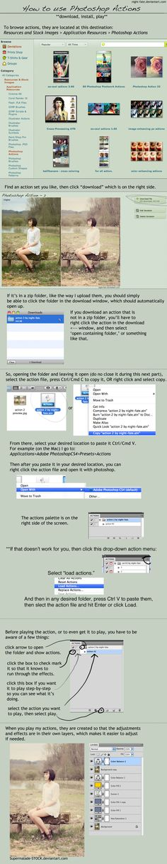 How to use Photoshop Actions | by Julie Starr - http://night-fate.deviantart.com/