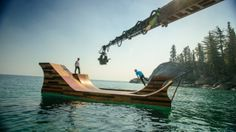 Floating Skate Ramp in Lake Tahoe