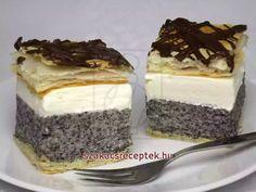 Mákos krémes • Recept | szakacsreceptek.hu Hungarian Recipes, Tiramisu, Cheesecake, Food And Drink, Ethnic Recipes, Sweet, Hampers, Beverages, Bakken