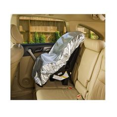 The Car Seat Sun Shade help keep your child's car seat cooler on hot days. Car seat cover fits most car seats.