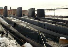 Four Oberon-class submarines awaiting disposal at HMC Dockyard in Halifax. (Photo by Cpl. Navy Day, Us Navy, Royal Navy Submarine, Royal Canadian Navy, Navy Ships, War Machine, Cold War, Boats, Weapons