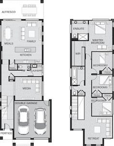 Narrow house narrow house plans and house design on pinterest for Simple townhouse design