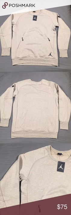 """Air Jordan Icon Fleece Crew Sweatshirt 802181 235 New Men's Nike Air Jordan Icon Fleece Crew Sweatshirt 802181 235 NWT  Fabric Content: 60% Cotton 40% Polyester  Measurements: Size: XLT Pit to Pit: 24"""" Waist: 22.5"""" Sleeve Length: 35"""" (from collar seam) Length: 32""""   Size: XL Pit to Pit: 24.5"""" Waist: 23"""" Sleeve Length: 33"""" (from collar seam) Length: 30"""" Nike Sweaters Crewneck"""