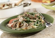 Steak & Mushroom Florentine - Even the kids will eat their spinach when it's tucked into this delicious dish with sliced steak and a creamy sauce.
