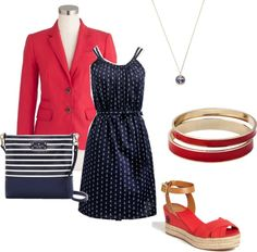 """""""Red Blazer and Anchor Dress"""" by classicprep on Polyvore"""