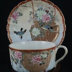 Japanese Meiji Era Porcelain Cup and Saucer w Birds