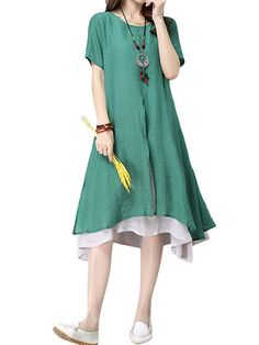 Women Vintage Fake Two Pieces Short Sleeve O Neck Dress