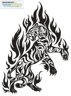 Tribal Flame Tiger Tattoo Tattoodonkey Com Image