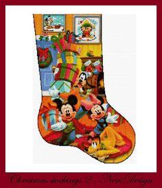 Disney Stockings, Disney Christmas Stockings, Cross Stitch Christmas Stockings, Christmas Cross, Christmas Ornaments, Christmas Sewing Patterns, Christmas Sewing Projects, Cross Stitch Embroidery, Cross Stitch Patterns