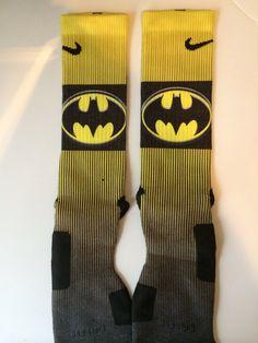 Batman Custom Nike Elite socks by LeagueReady on Etsy Nike Elite Socks, Nike Socks, Arkansas Razorbacks, I Fall In Love, Skateboard, Batman, Trending Outfits, Random, Unique Jewelry