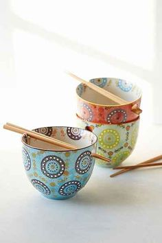 I pretty much need this. Like now. Medallion Noodle Chopsticks + Bowl - Urban Outfitters