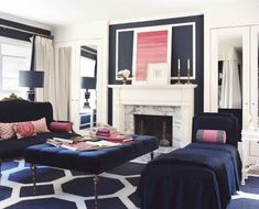 navy and pink living room