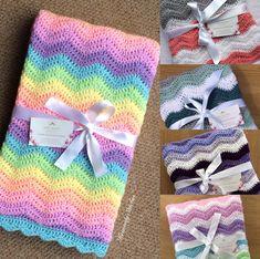 Custom Crochet Ripple Baby Blankets for a boy or girl -perfect baby shower gift. Crochet Mandala Pattern, Crochet Ripple, Crochet Shell Stitch, Ravelry Crochet, Afghan Crochet Patterns, Baby Blanket Crochet, Baby Patterns, Crochet Baby, Crochet Gifts