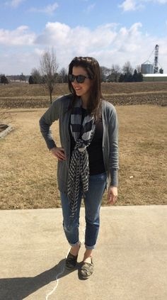 Cardigan, Skinny Distressed Jeans, Flats, Scarf Outfit
