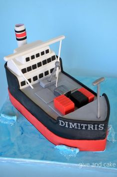 Cargo/tanker ship - Cake by giveandcake