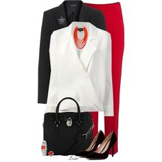 """Bright Pants For Work"" by lmm2nd on Polyvore"