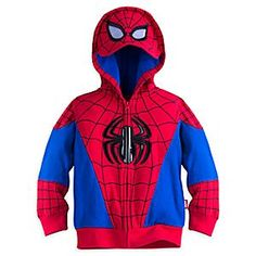Spider-Man Zip Hoodie for Boys | Disney Store He'll be excited to get caught in the web covering this Spider-Man Zip Hoodie for Boys. Vinyl Spider-Man logos are featured on the front and back of this costume jacket which includes a Spidey mask with mesh eyes in the hood.