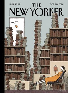 "Read about this week's cover, ""Fall Library,"" by Tom Gauld: http://nyr.kr/1qTBk6j"