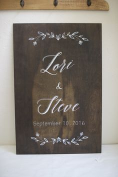 Dark stained wood wedding sign with floral garlands. Custom wedding and event signs. Choose your size and stain color. Hand painted.