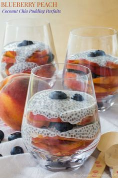 Blueberry Peach Coconut Chia Pudding Parfaits - a simple and healthy dessert, snack, or even breakfast recipe featuring the best fruit of the season. Gluten free, vegan, and paleo. | cupcakesandkalechips.com