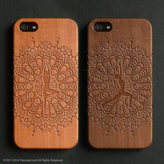 Yoga wood engraved iPhone 4 / 4s / 5 / 5s / 5C / 6 / 6 Plus case