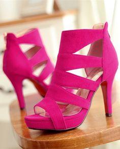 Pink high heeled sandals pumps
