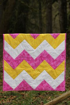 Pink and Yellow Chevron Baby Girl Quilt by CuddleLaneQuilts, $105.00 One of April's Shop Hop Entries.. They're all Gorgeous!!